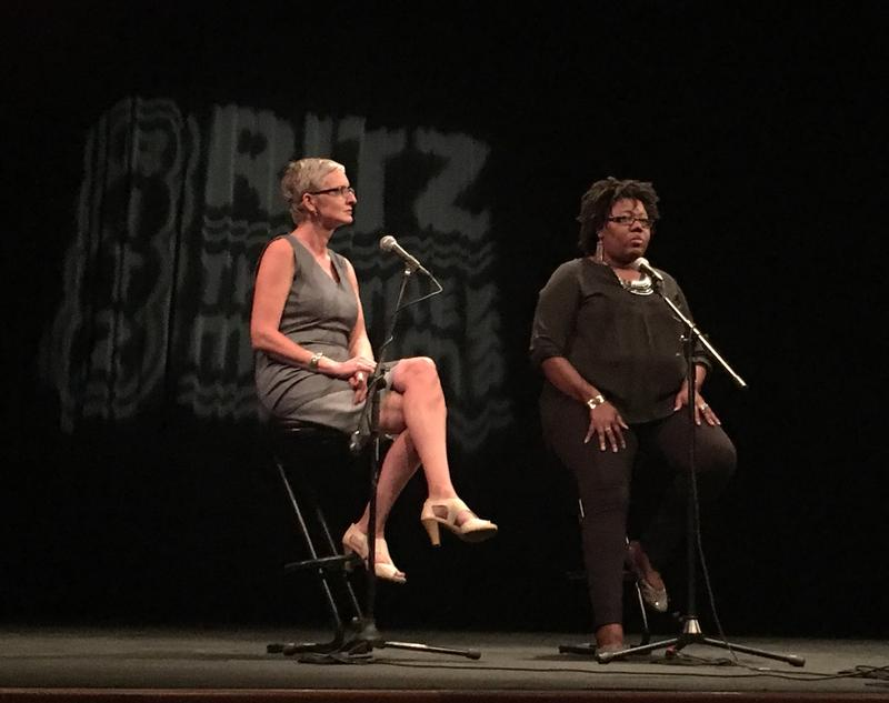 Hope McMath (left) and Ritz Museum Administrator Adonnica Toler talk about inclusion in the arts at a One Voice event.