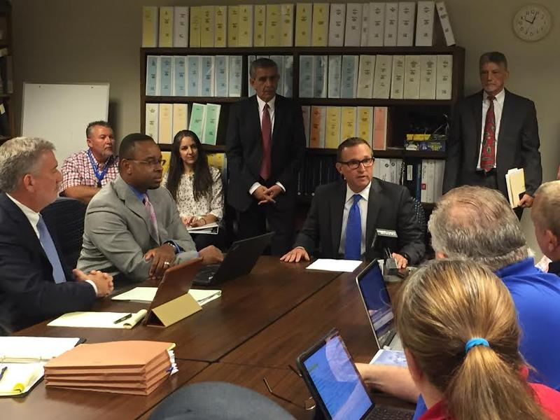 Mayor Lenny Curry made opening remarks at a collective bargaining meeting Thursday.