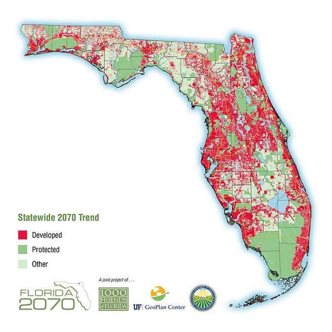Florida 2070's prediction of development in current trends continue.