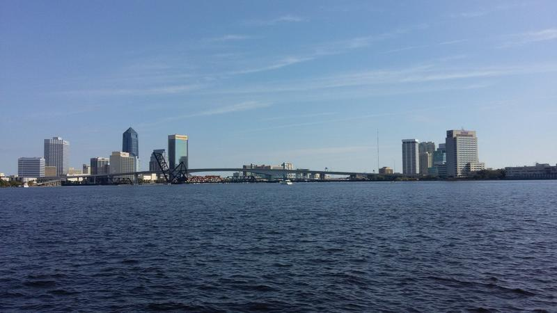 The St. Johns River and downtown Jacksonville as seen from the Northbank Riverwalk.