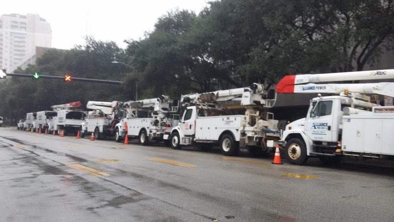 JEA trucks line up in preperation for Hurricane Matthew.