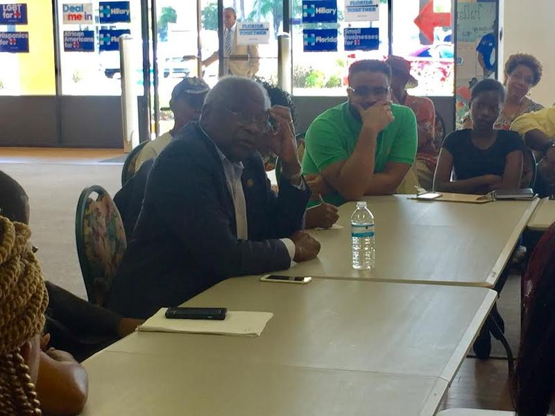 U.S. Rep. James Clyburn (South Carolina) makes his case for Hillary Clinton in Jacksonville Monday.