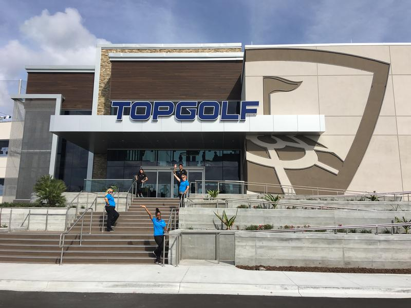 The front of the Topgolf building located at 10531 Brightman Blvd.