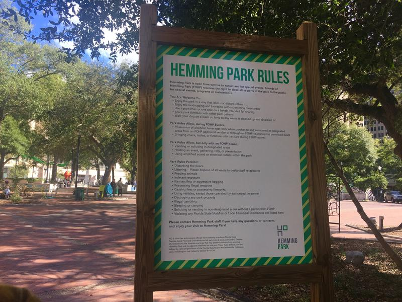 Park rules are posted in several spots at Jacksonville's Hemming Park.