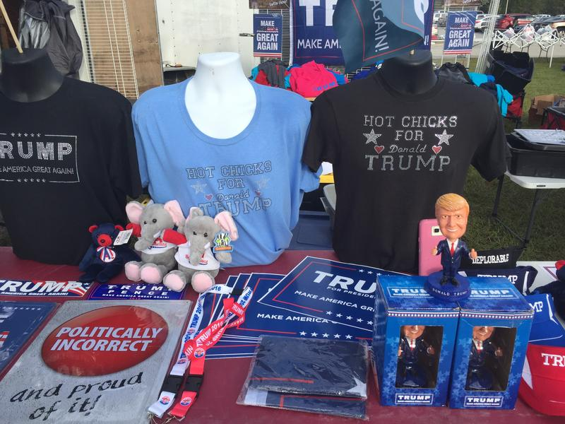 t-shirts, signs and bobble heads