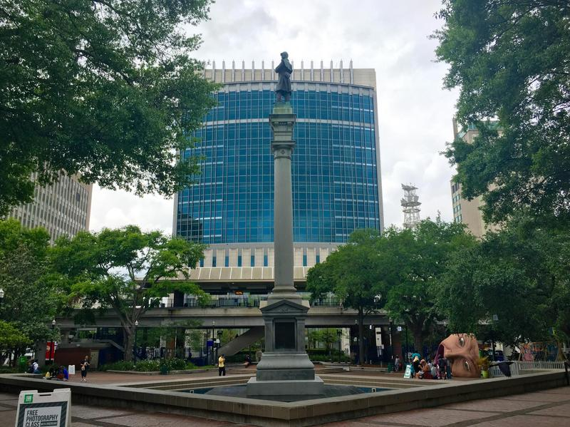 A Confederate Memorial Statue overlooks Hemming Park, downtown in Jacksonville.