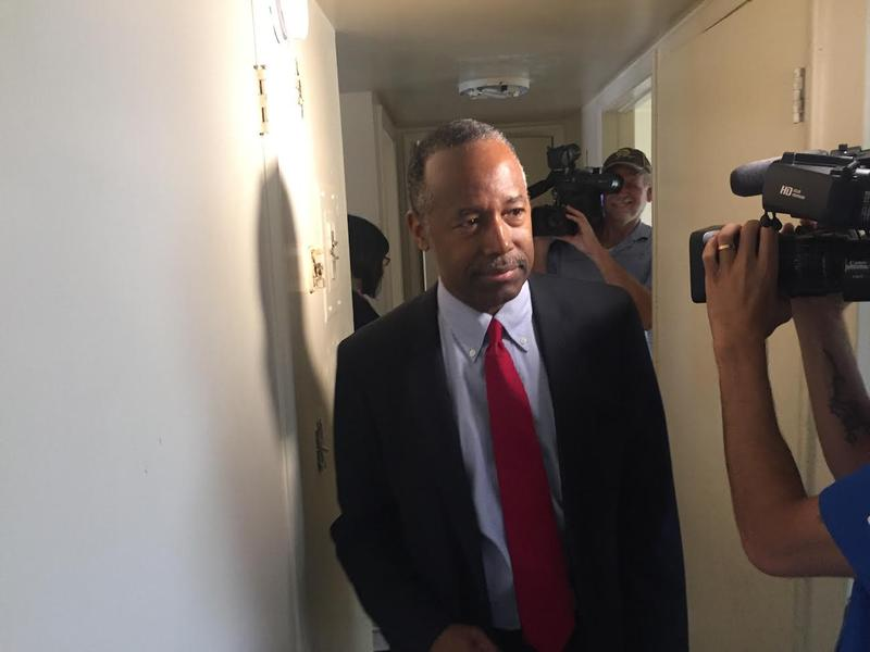 U.S. Housing and Urban Development Secretary Ben Carson touring an apartment at Eureka Garden in Jacksonville.