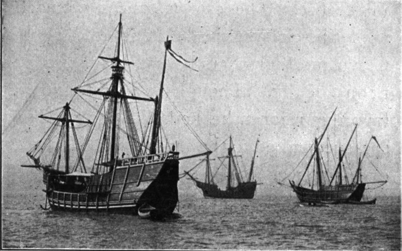 Replicas of the Caravels Pinta, Niña and the carrack Santa Maria. Lying in the North River, New York. The two caravels and the carrack which crossed from Spain to be present at the World's Fair at Chicago.
