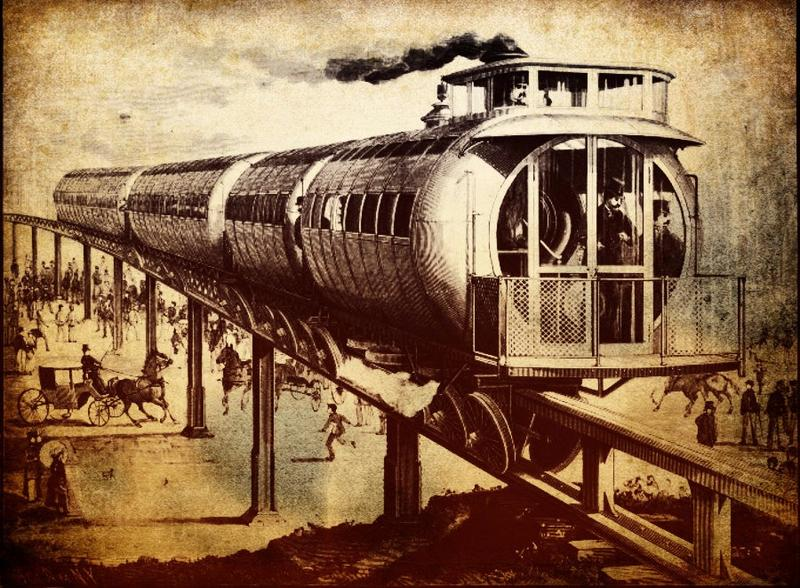 Jacksonville's Skyway monorail is poised to be a large part of the city's future. Pictured is the Meigs Elevated Railway, an experimental steam-powered monorail.