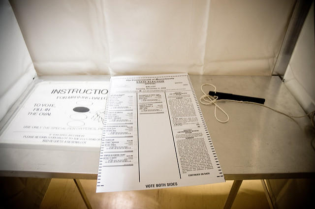 ballot in voting booth