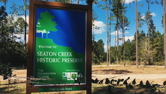 Seaton Creek Historic Preserve sign