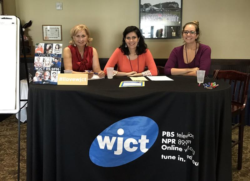 WJCT's Michelle Corum, Jessica Palombo and Lindsey Kilbride at the first Beyond the Core event at Naval Air Station Jacksonville on July 26.