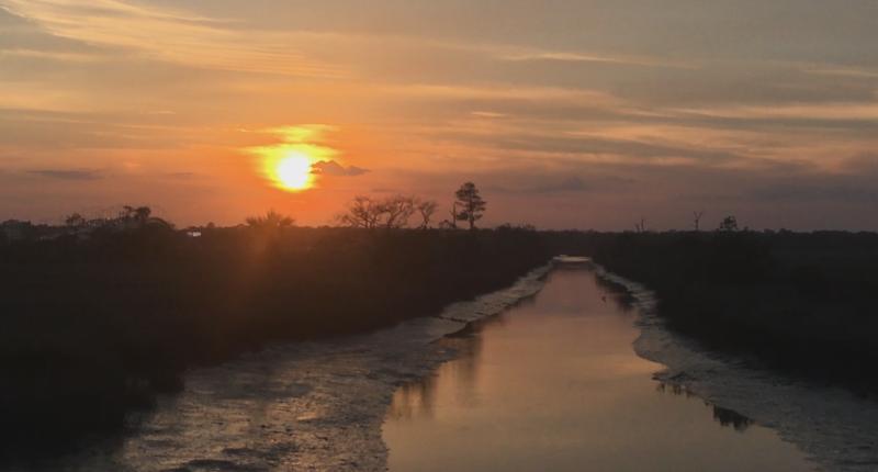 sunset over Tideviews Preserve
