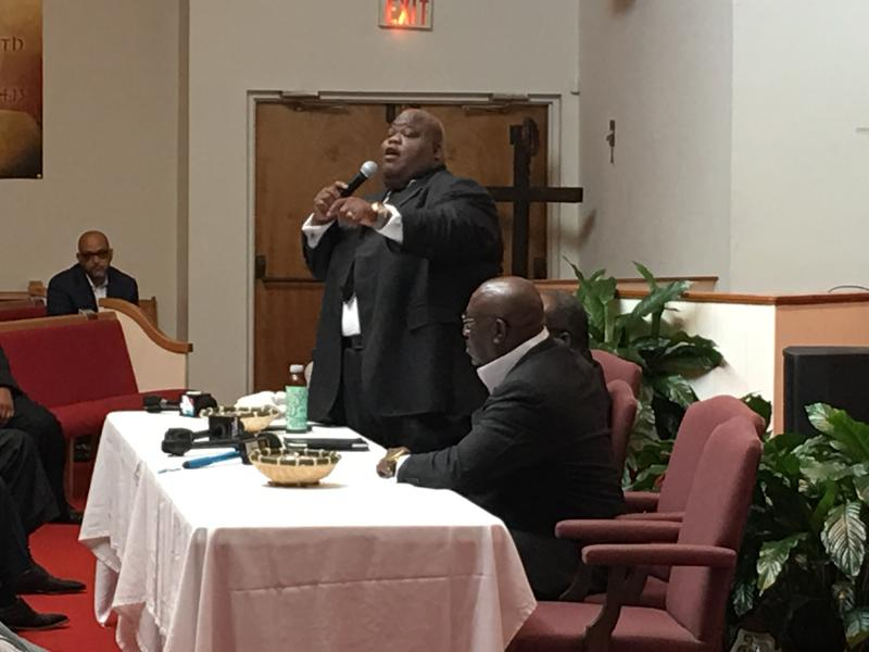 The Rev. Darien Bolden tells his story at Central Baptist Institutional Church on Friday, Aug. 4.