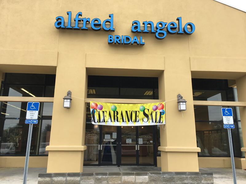 A liquidation sale is underway at the former Alfred Angelo store on Atlantic Boulevard in Arlington.