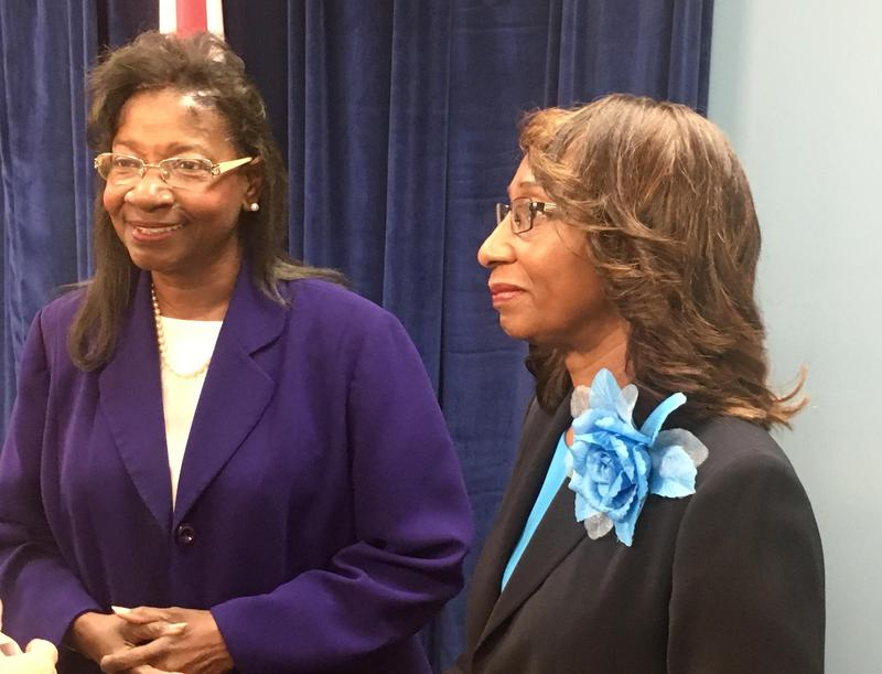 Interim Superintendent Patricia Willis (left) and Duval County School Board Chair Paula Wright.