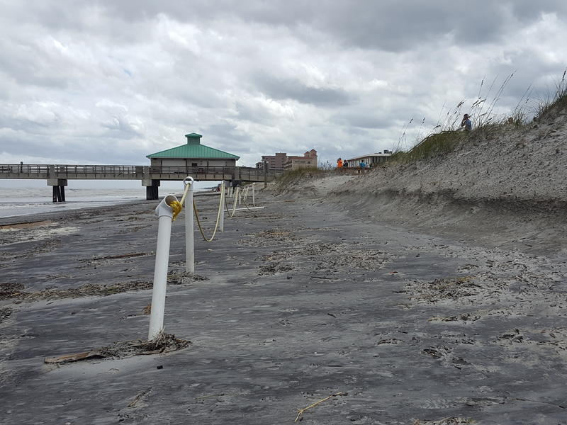 Sand dunes are eroded at Jacksonville Beach.