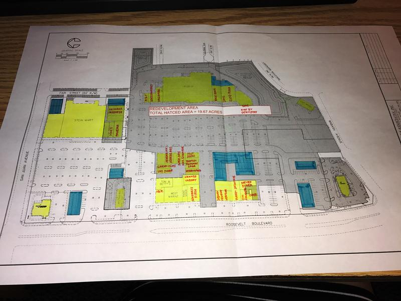 A blueprint shows proposed new developments (highlighted in blue) at Roosevelt Square Mall.