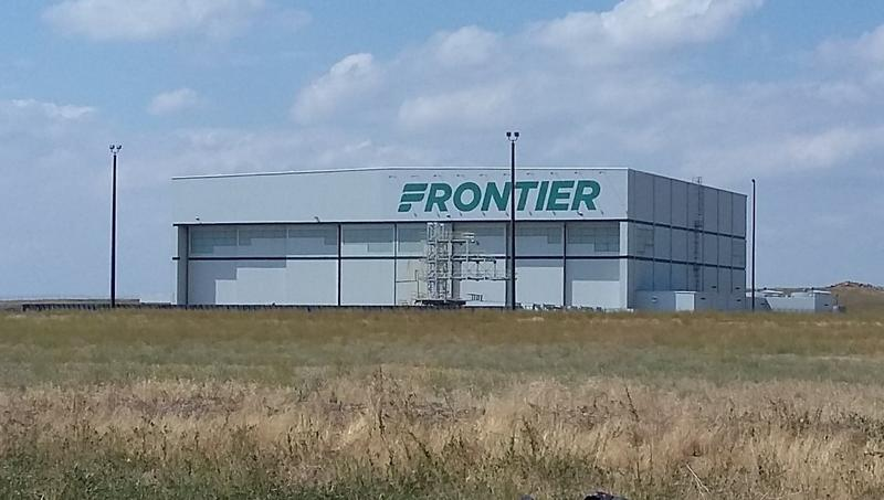 A Frontier Airlines hangar is pictured.