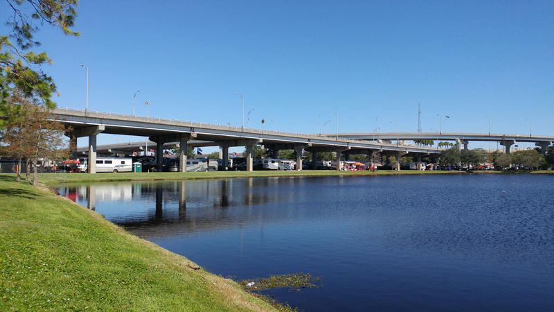 A portion of the elevated ramp system that runs along Bay Street and Gator Bowl Blvd. to the Hart Bridge is pictured on Tuesday, Oct. 25, 2017.