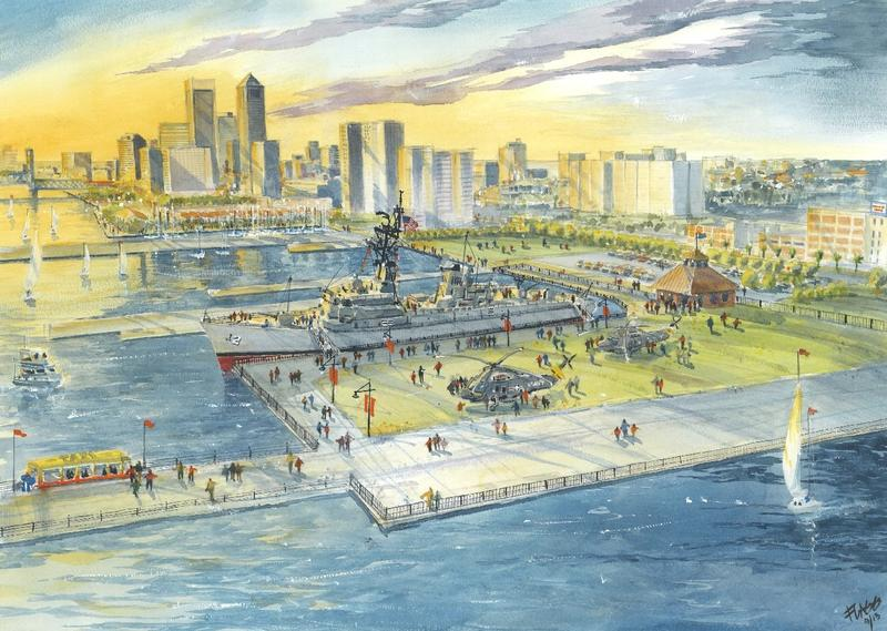 Early artist rendering of what the USS Adams Museum might look like at the Shipyards
