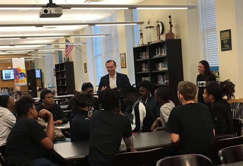 Jacksonville Mayor Lenny Curry surprised a group of Duval County Lee High School leadership students with suite tickets to the next two Jaguars home games.