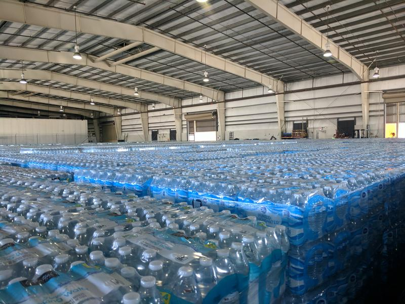Pallets of water bound for Puerto Rico