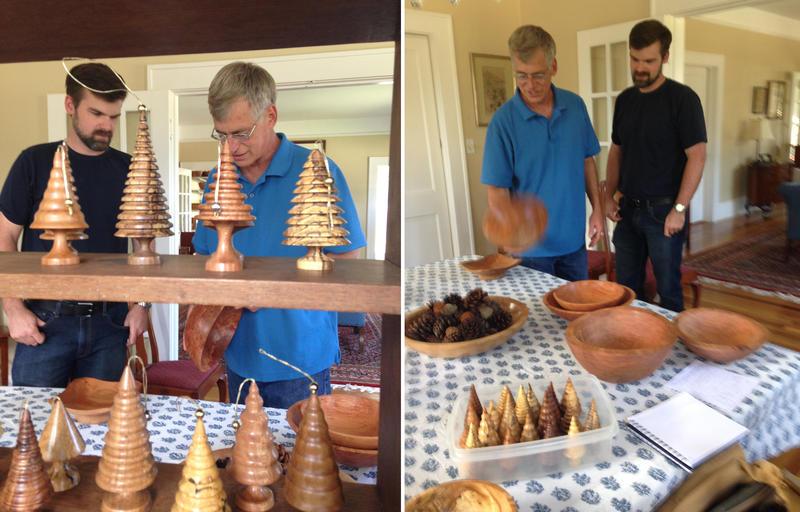 Jay (light blue shirt) and Andrew Morse display their handiwork.