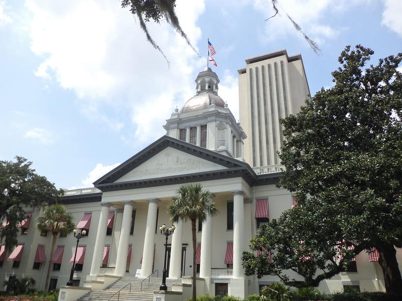 Florida's Historic Capitol (foreground) and Florida State Capitol (background) in Tallahassee.