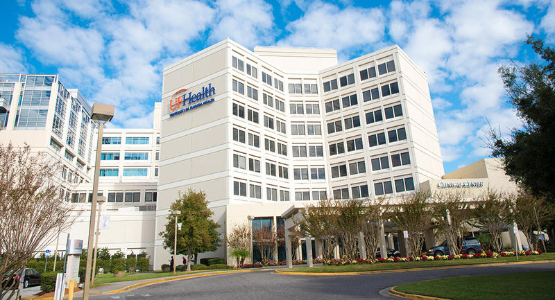 UF Health Jacksonville hospital is pictured.