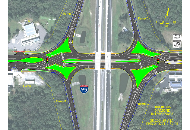 A diverging diamond Interchange is under construction in Nassau County