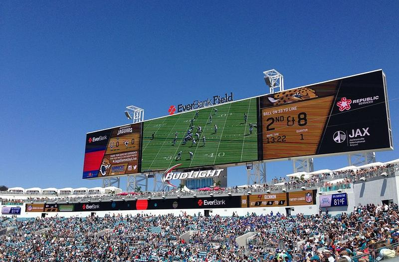 The north end of EverBank Field, showing the scoreboards, party deck, and pools.