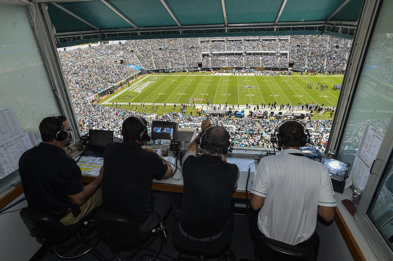 The tours will include a stop to the press box. Pictured is the Jaguars Home Radio booth.