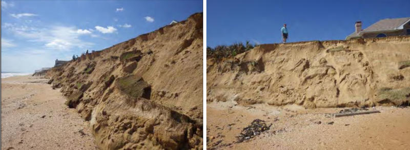 These photos from a GEER report show dune damage in Vilano Beach.