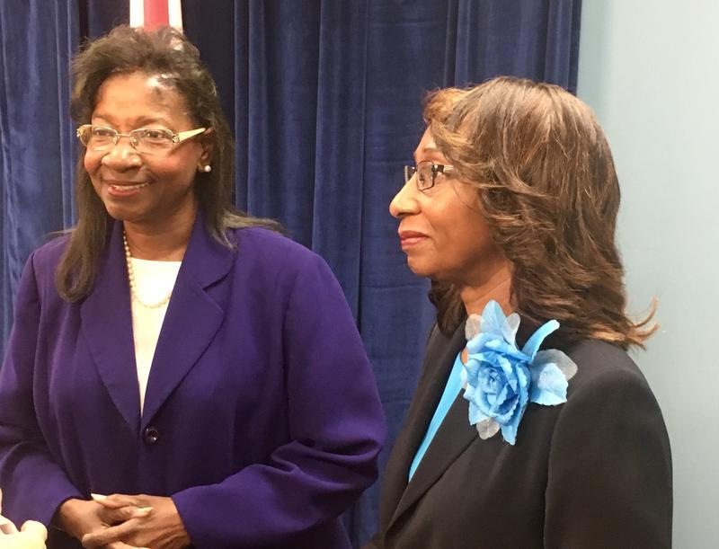 Duval County Superintendent Patricia Willis (left) and School Board Chair Paula Wright.