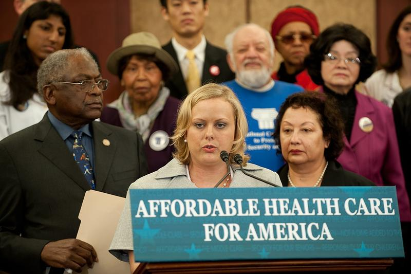 An Affordable Health Care news conference is held in 2012.