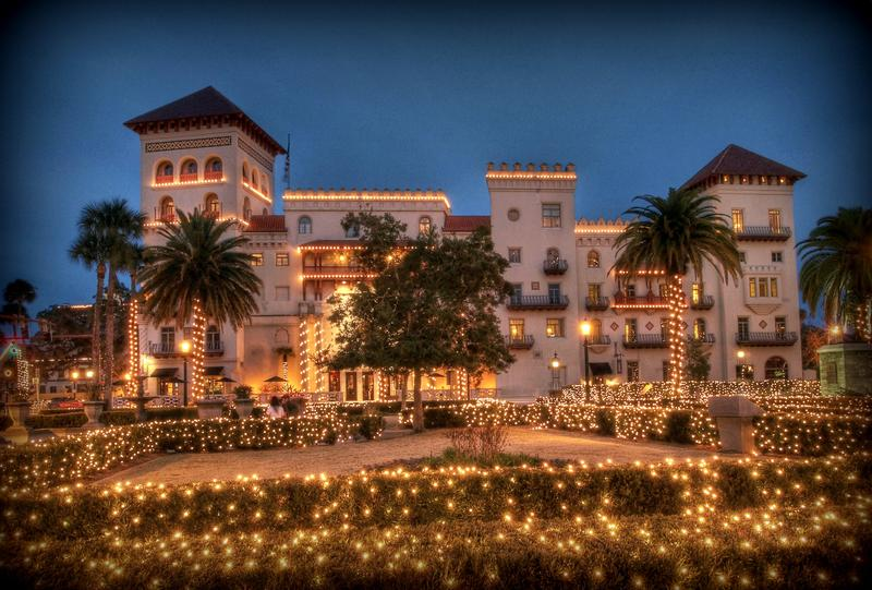 The Casa Monica Hotel and St. Augustine's Nights of Lights is pictured.