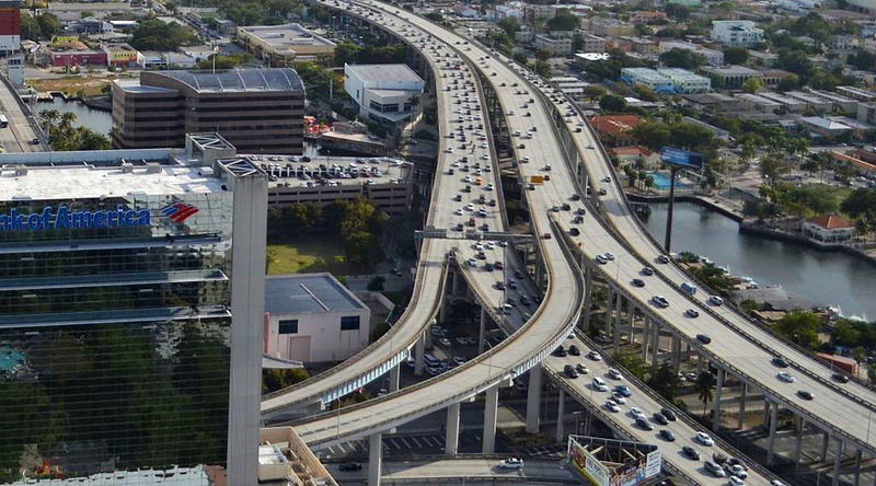 Motorists make their way through I-95 in Miami.