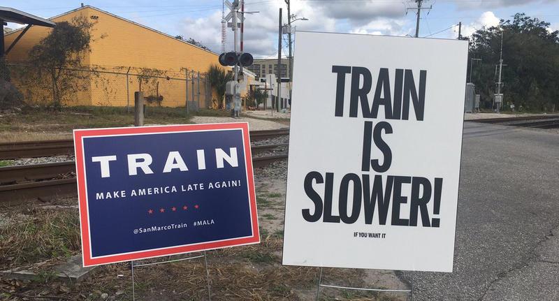 "The San Marco Train's slogan is ""Make America Late Again."""