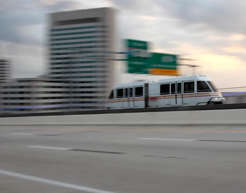 The JTA Skyway crosses the Acosta Bridge in downtown Jacksonville.