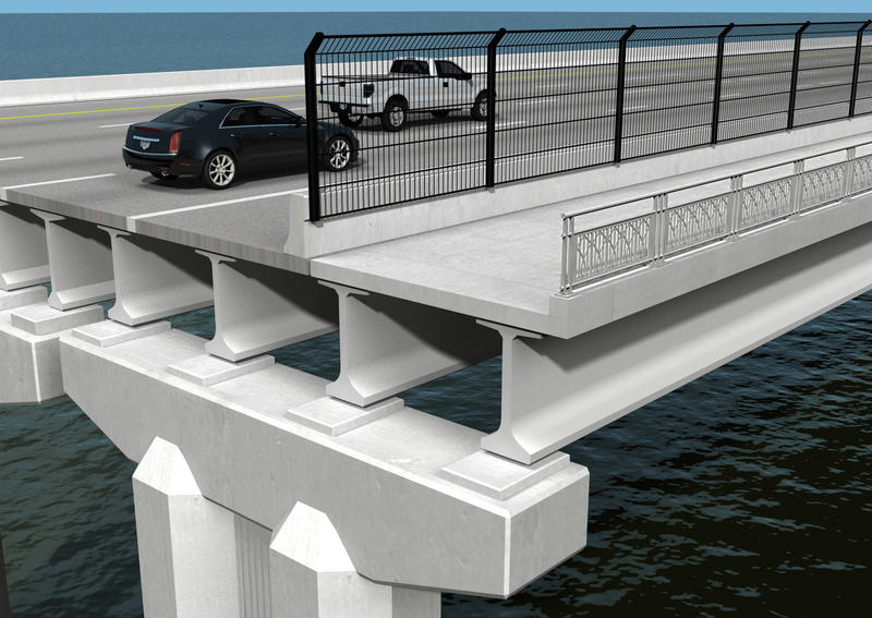 This rendering illustrates another view of what the upcoming shared use path on the Fuller Warren Bridge will look like.