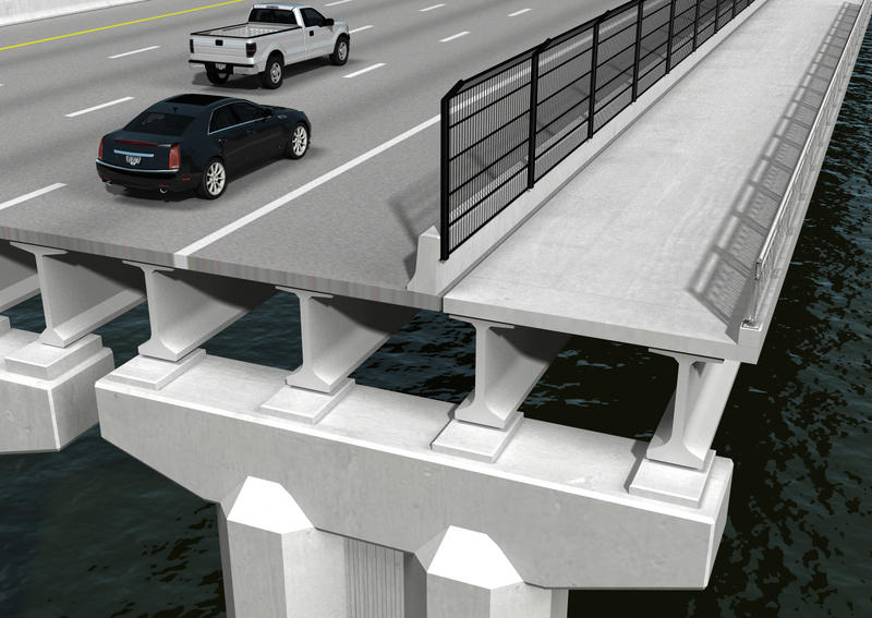 This rendering illustrates what the upcoming shared use path on the Fuller Warren Bridge will look like.
