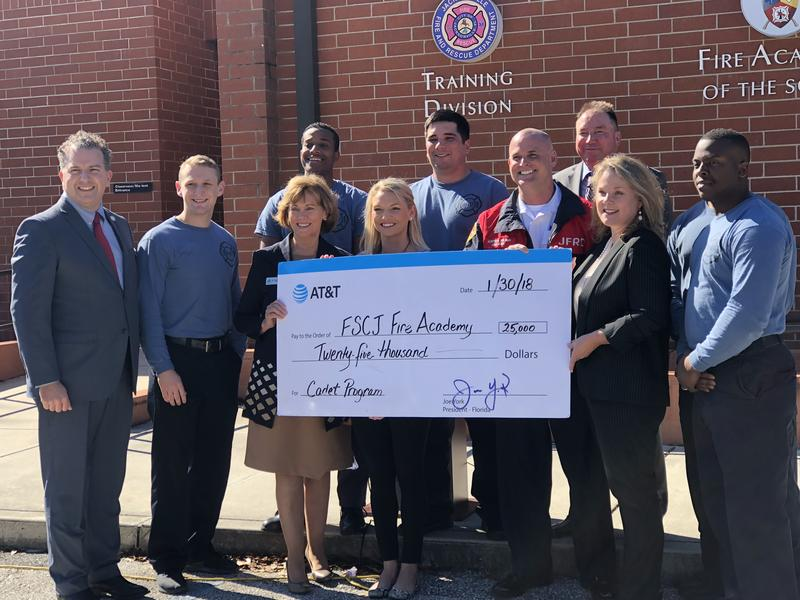 The AT&T Foundation presented FSCJ with a $25,000 Fire Cadet Academy grant.