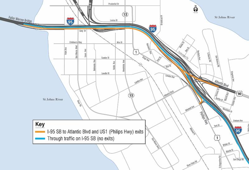 This map shows the new traffic pattern on I-95 southbound coming off of the Fuller Warren Bridge.