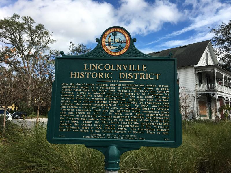 This historical marker greets visitors to St. Augustine's Lincolnville neighborhood.