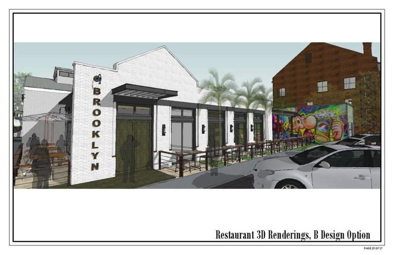 A craft brewery is planned for the former Mt. Calvary Baptist Church at 301 Spruce St. in Brooklyn. This architect's rendering shows plans for an attached restaurant at the corner of Dora and Chelsea streets.