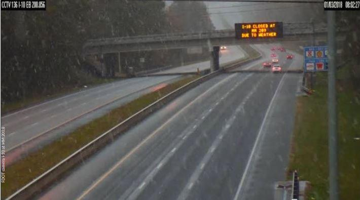 A 50-mile stretch of I-10 was closed early Wednesday because of icy conditions.