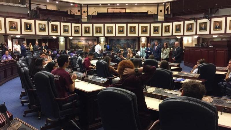 Students speak in the state Capitol Wednesday in Tallahassee.