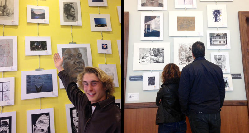 Dane LaRocque points to his art at the Jacksonville Public Library, on display through Feb. 25