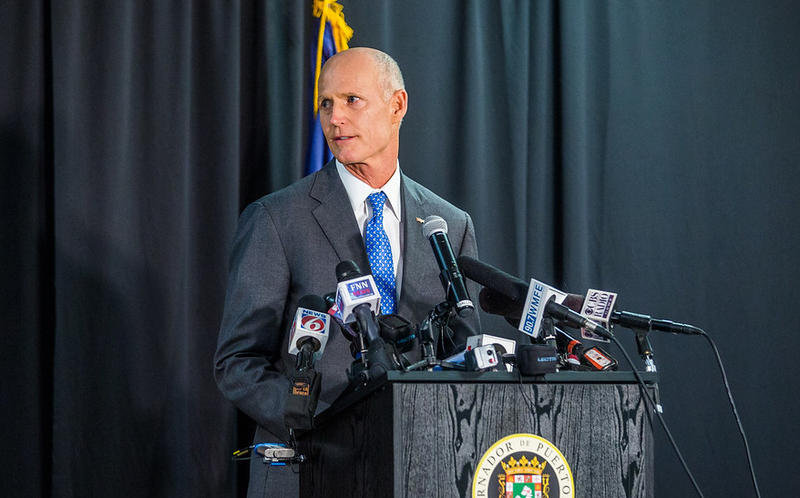 Gov. Rick Scott speaks at a Central Florida town hall meeting in January.